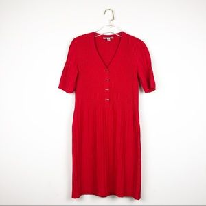 St. John Red Ribbed Knit Midi Dress